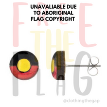 Aboriginal Flag Studs Earrings - Circle