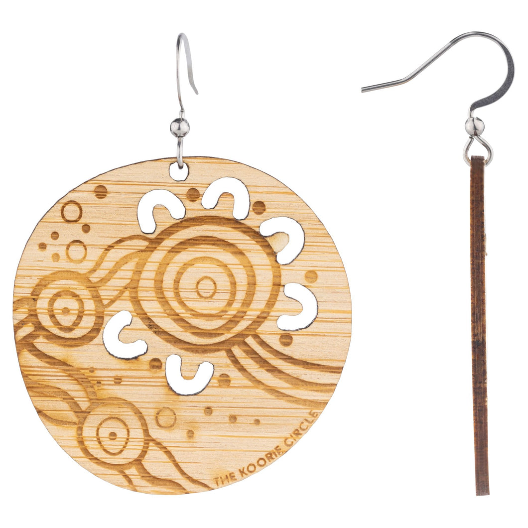 Saltwater Aboriginal Earrings - Wood