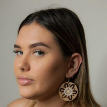 Bamboo Meeting Place Aboriginal Earrings - Hand Painted Bamboo