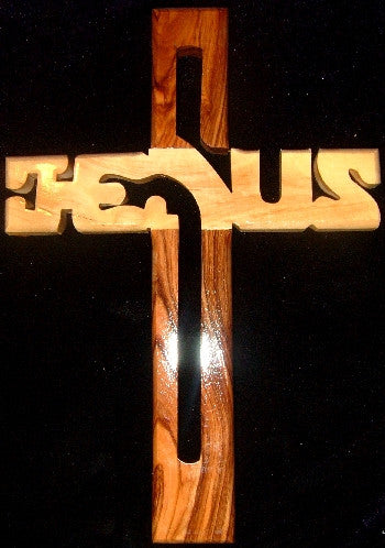 Hand Carved Olive Wood Cross with JESUS outlined