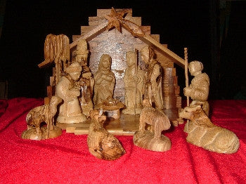 13 Piece Olive Wood Nativity Set medium
