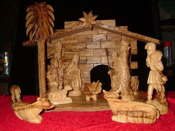 14 Piece Olive Wood Nativity and Manger Set