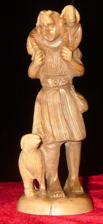 Hand Carved Olive Wood Statue: Shepherd Carying a Lamb on His Sholders,and a Second Lamb by his Feet.