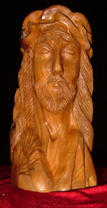 Hand Carved Olive Wood Statue: Head of Jesus with Crown of Thorns