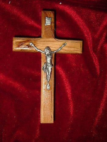Hand Carved Olive Wood Crucifix with Beveled Edges