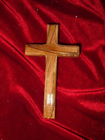 Hand Carved Olive Wood Cross with Beveled Edges