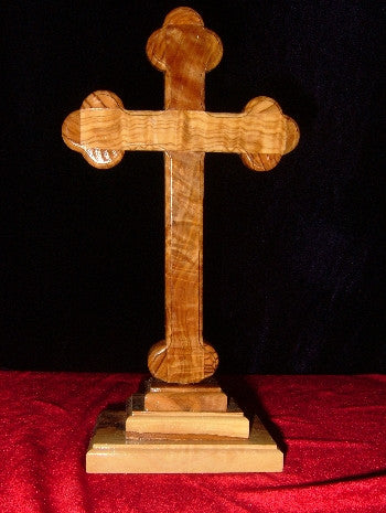 Hand Carved Olive Wood Celtic Style Cross with Beveled Edges with Table Stand