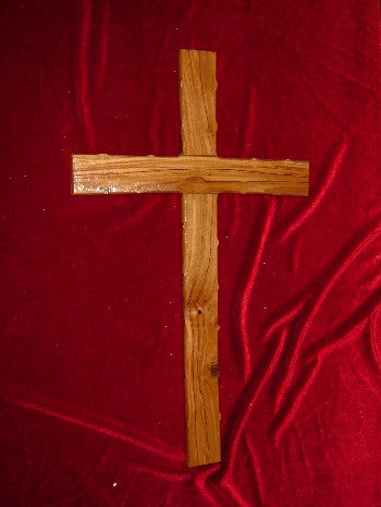 Hand Carved Olive Wood Cross with Bumbs on the Edges