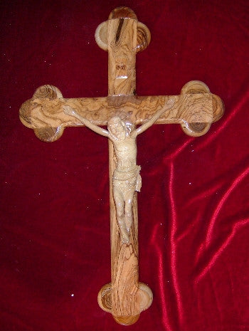 Hand Carved Olive Wood Celtic Style Crucifix with Beveled Edges