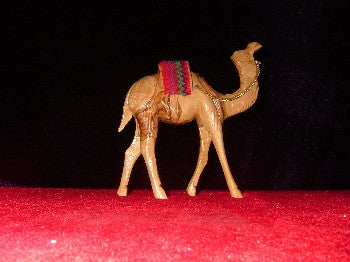 Hand Carved OliveWood Statue: Standing Camel with Red Sadle
