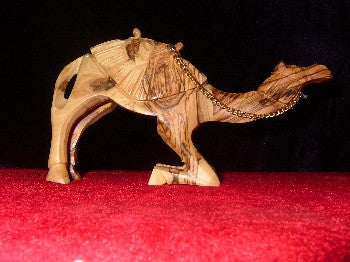 Hand Carved Olive Wood Statue: Kneeling Camel with Sadle