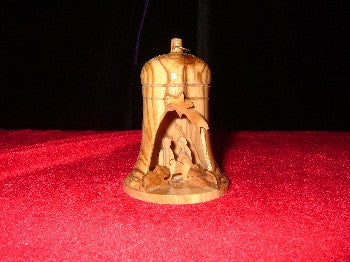 Hand Made OliveWood Nativity Ornament in Bell Manger