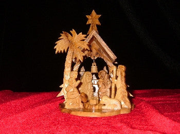 Olive Wood Palm Tree with Bell Nativity