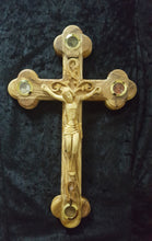 Hand Carved Olive Wood Celtic Style Crucifix with Treasures from The Holy Land.