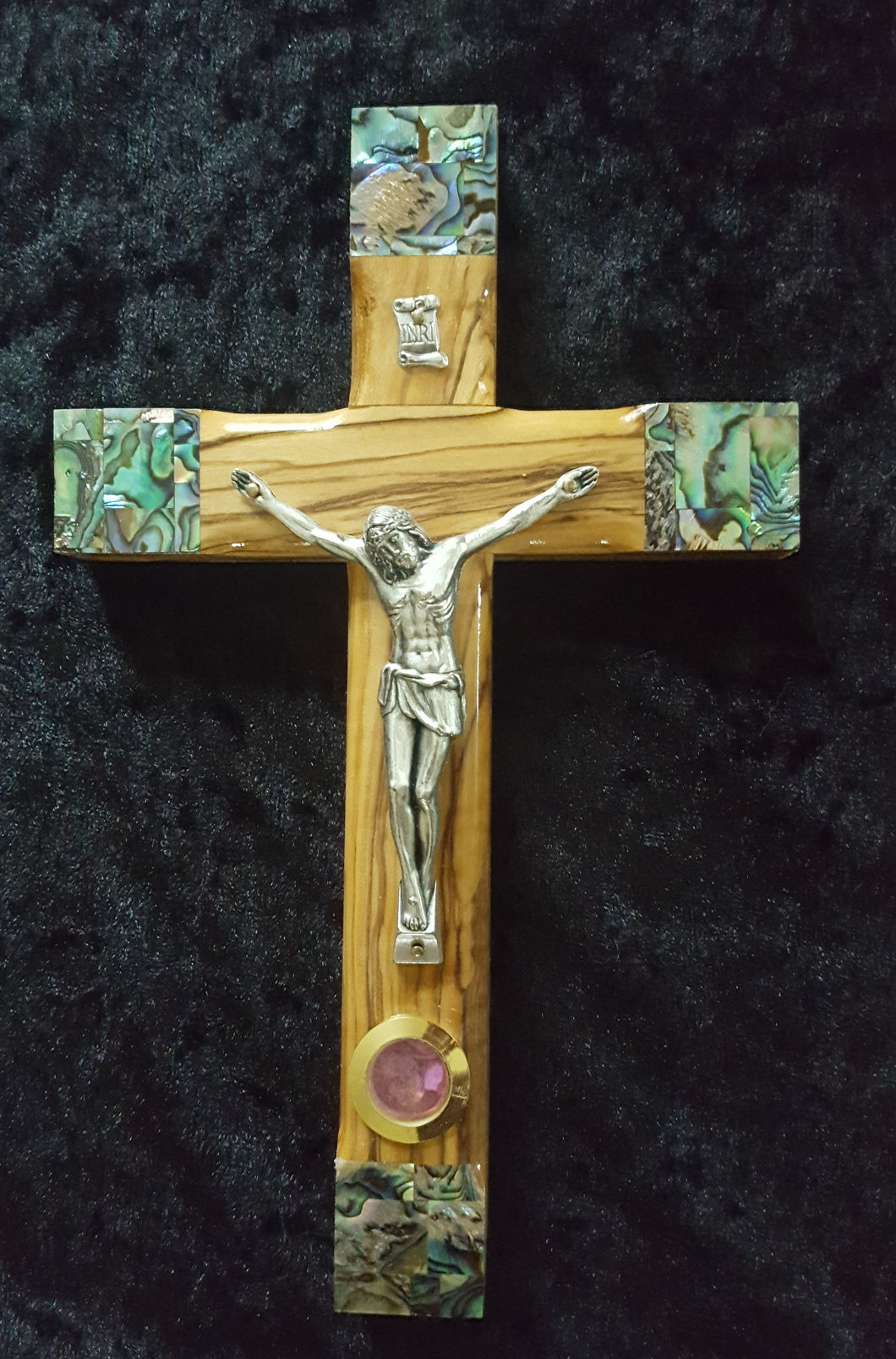 Olive Wood Crucifix with Mother of Pearl