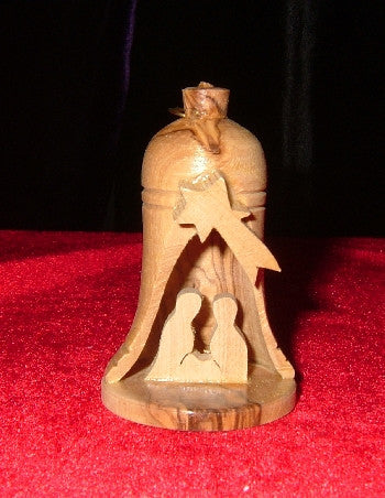 Hand Made Olive Wood Nativity Ornament in Bell Manger
