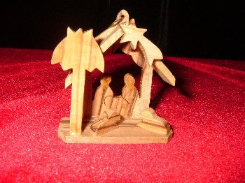 Set of 6: 3D Nativity Style Olivewood Ornaments