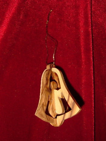 Hand Made Olive Wood Angel in Bell Ornament (3 dimentional)