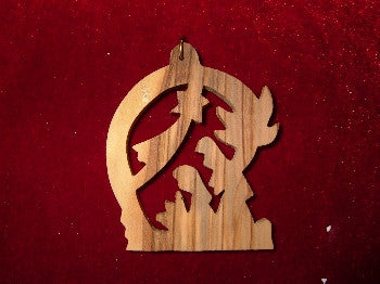 Hand Made OliveWood Nativity with Star Ornament