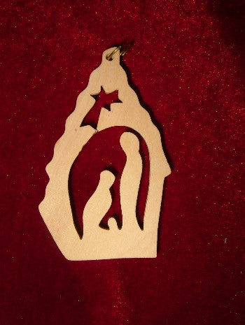 Hand Made Olive Wood Nativity with Star of Bethlehem Ornament