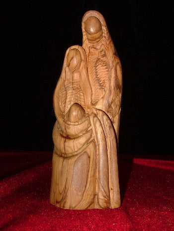Hand Carved Olive Wood Statue: Mary,Joseph and Jesus - Holy Family