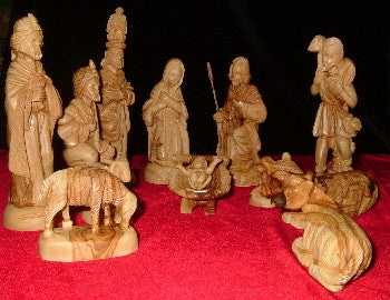 12 Piece Olive Wood Nativity Set