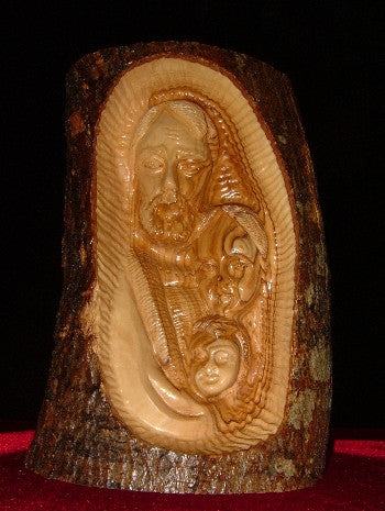 Hand Carved Olive Wood Carving of the faces of Joseph,Mary,and Jesus