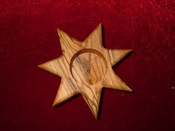 Hand Carved Olive Wood 7 Sided Star Votive Candle Holder