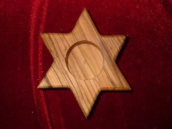 Hand Carved Olive Wood 6 Sided Star (Star of David) Votive Candle Holder