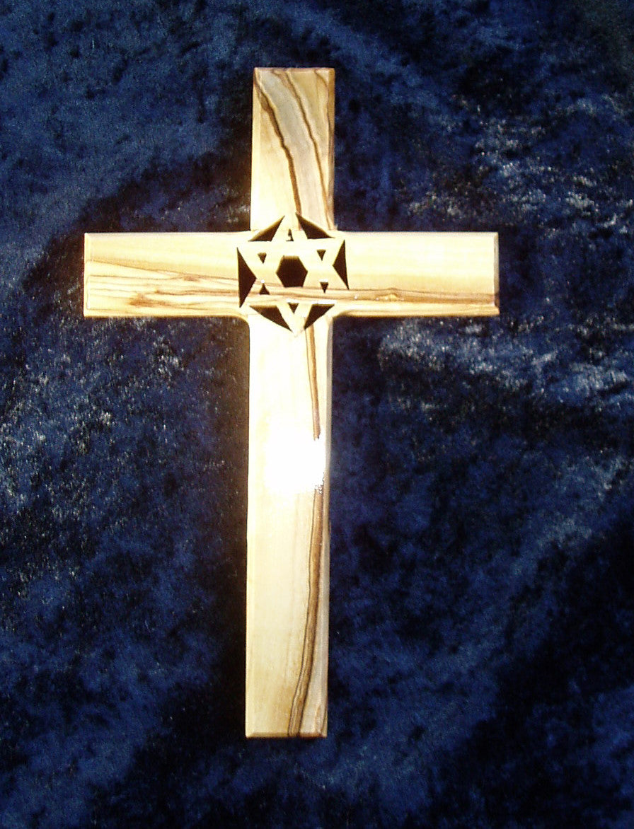 Olive Wood Cross with Star of David  (large)