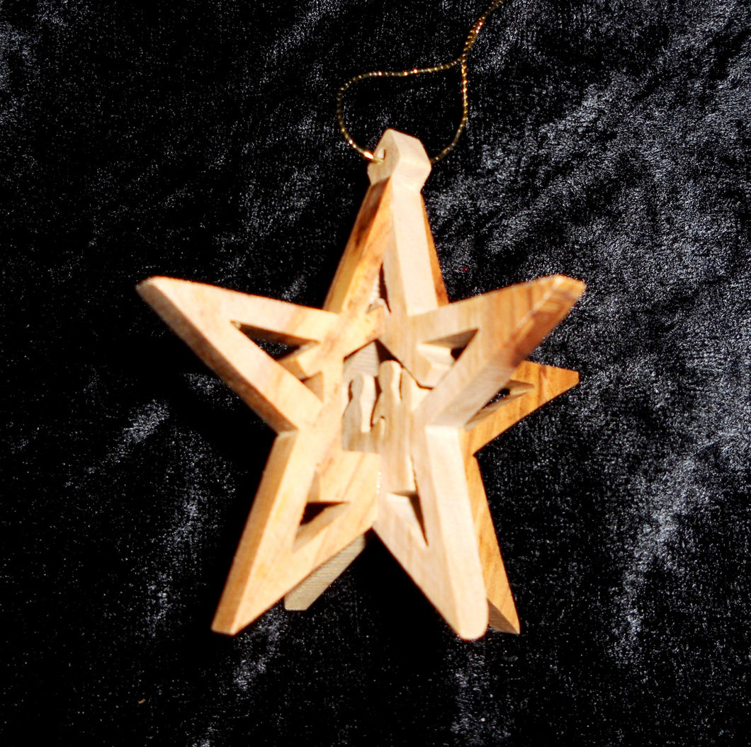 Hand Made Olive Wood Manger Ornament (3 dimentional)