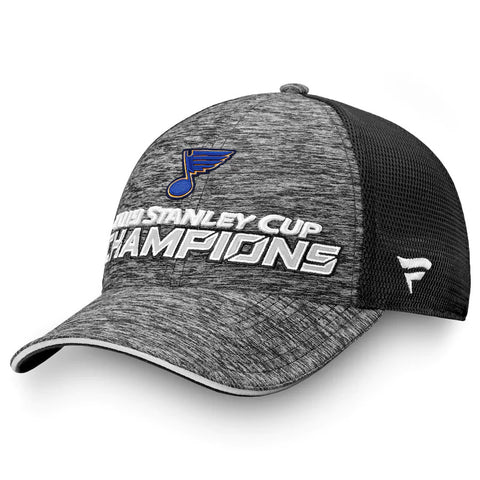 Men's St. Louis Blues Fanatics Branded Gray/Black 2019 Stanley Cup Champions - Locker Room Adjustable Hat