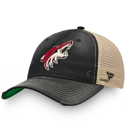 Mens Fanatics Black Arizona Coyotes True Classic Washed Trucker Snapback Hat