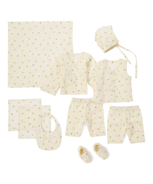 10pc. Off White with Delicate Yellow Flower Layette Set 10-pc. set Yo Baby Wholesale
