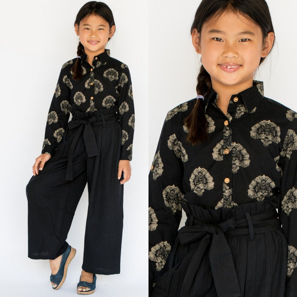 Abstract black Button Down Shirt with Black Paper Bag Pants 2 pc. Set Dress Yo Baby Wholesale