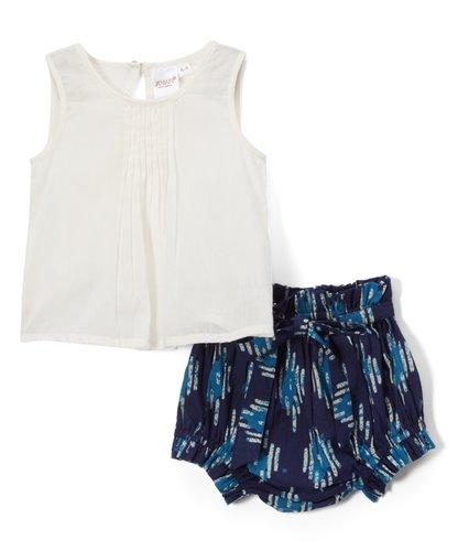 Abstract Shorts Style Diaper Cover and White Pintuck Top 2pc.set Dress Yo Baby Wholesale