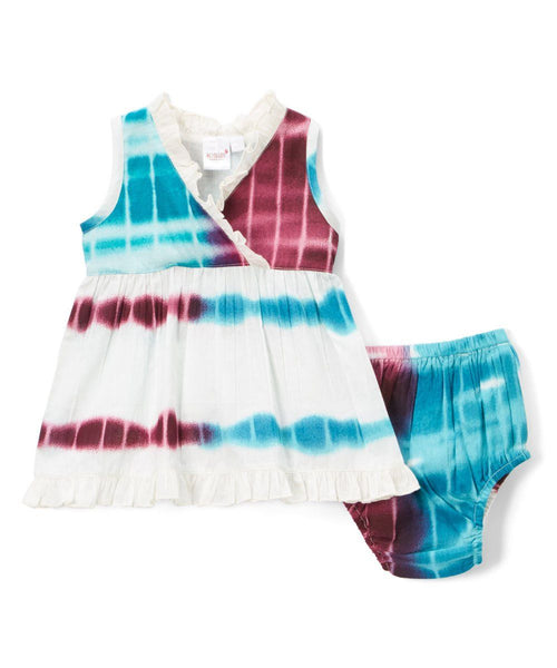 Aubergine and Blue Infant Dress Dress Yo Baby Wholesale