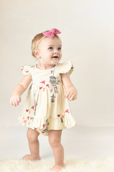 Birdcage Ruffle Sleeve Dress & Diaper Cover Dress Yo Baby Wholesale