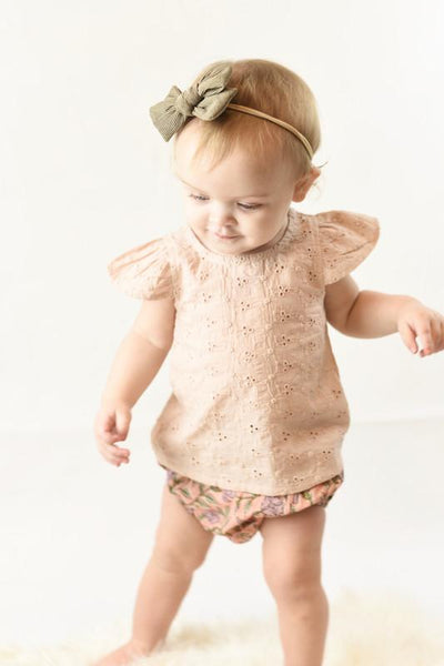 Blush Embroidered Top & Printed Diaper Cover set Dress Yo Baby Wholesale