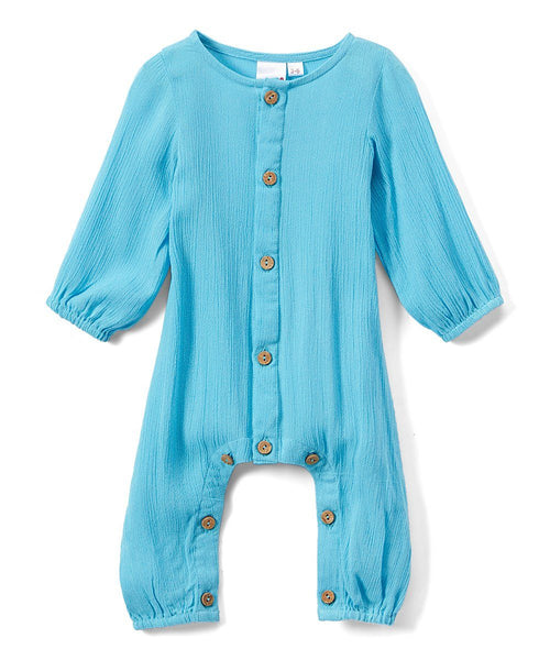 Boys Infant Full Sleeve Romper - Turquoise Romper Yo Baby Wholesale