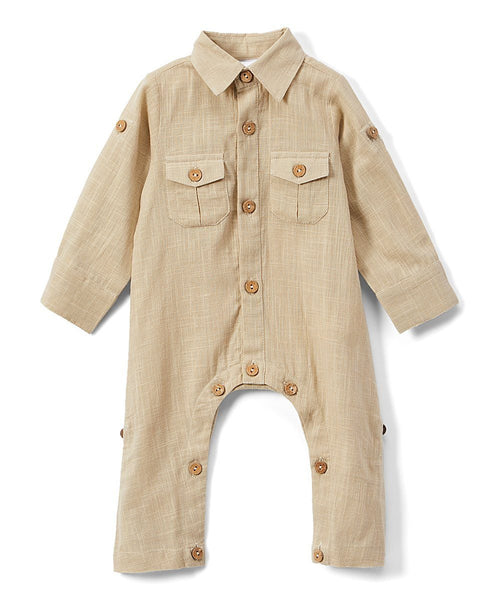 Boys Infant Full Sleeves Romper - Khaki diaper covers Yo Baby Wholesale
