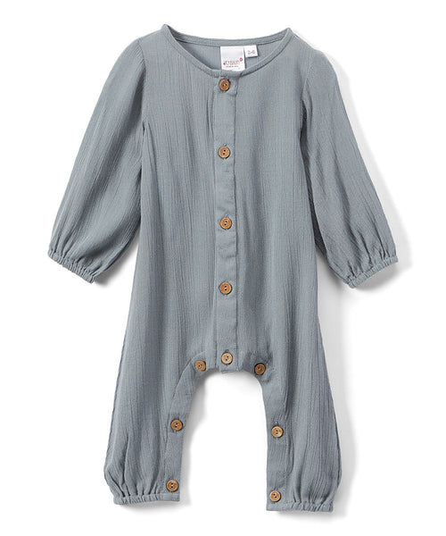 Boys Infant Full Sleeves Romper - Powder Blue diaper covers Yo Baby Wholesale