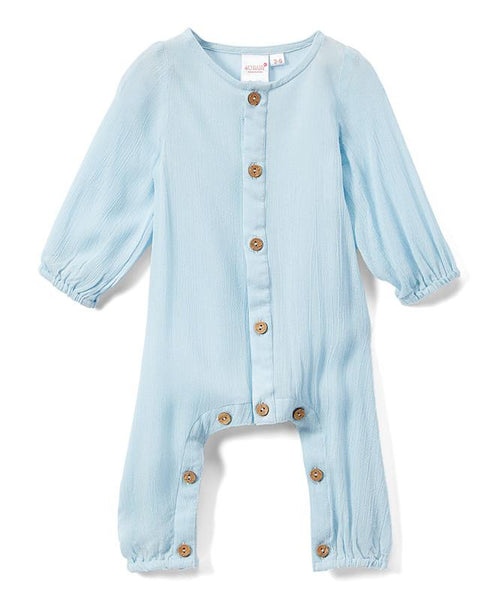 Boys Infant Full Sleeves Romper - Sky Blue - Newborn/Infant Dress Yo Baby Wholesale