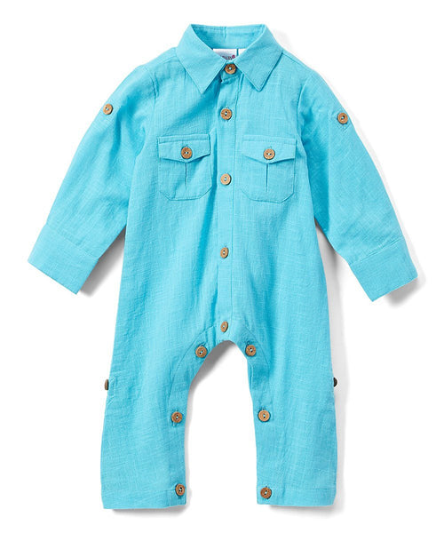 Boys Infant Full Sleeves Romper - Turquoise diaper covers Yo Baby Wholesale