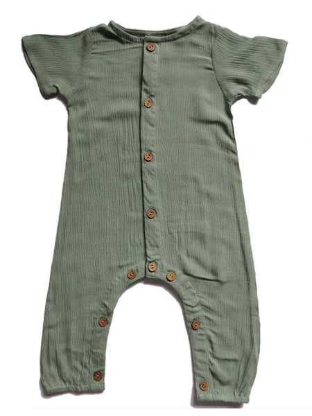 Boys Infant Half Sleeves Romper - Sage diaper covers Yo Baby Wholesale