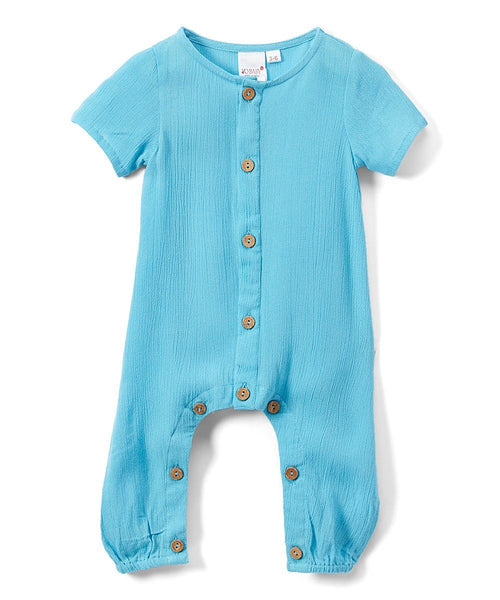 Boys Infant Half Sleeves Romper - Turquoise diaper covers Yo Baby Wholesale