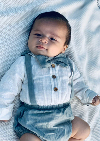 Boys Infant One-Piece Full Sleeves Romper With Attached Bow-Tie - Teal diaper covers Yo Baby Wholesale