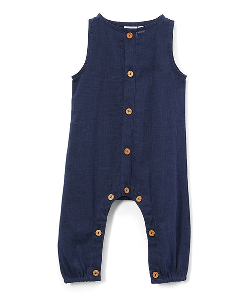 Boys Infant Sleeveless Romper - Navy diaper covers Yo Baby Wholesale