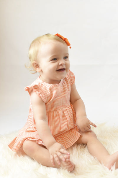 Candy Flutter-Sleeve Dress With Belt-Tie & Diaper Cover Set Sun Dress Yo Baby Wholesale