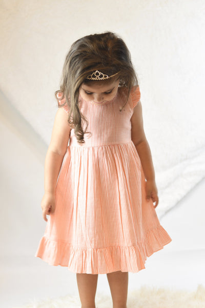 Candy-Stripe Flutter-Sleeve Dress With Belt Tie Dress Yo Baby Wholesale